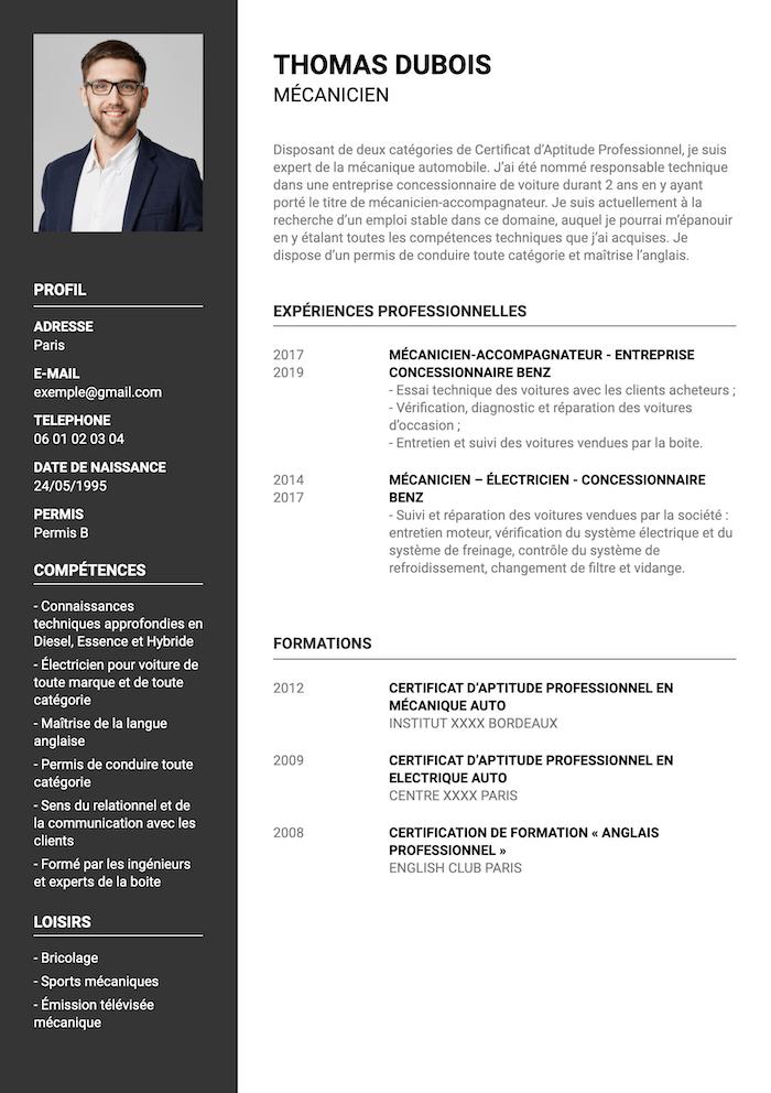 CV mécanicien
