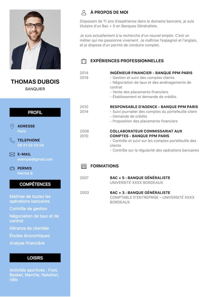 exemple CV banquier