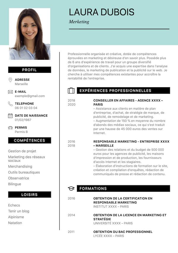 exemple CV marketing