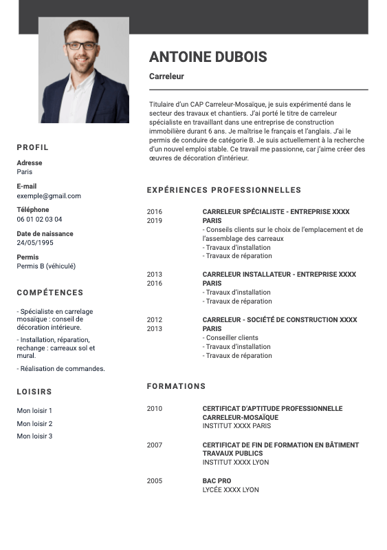 CV carreleur