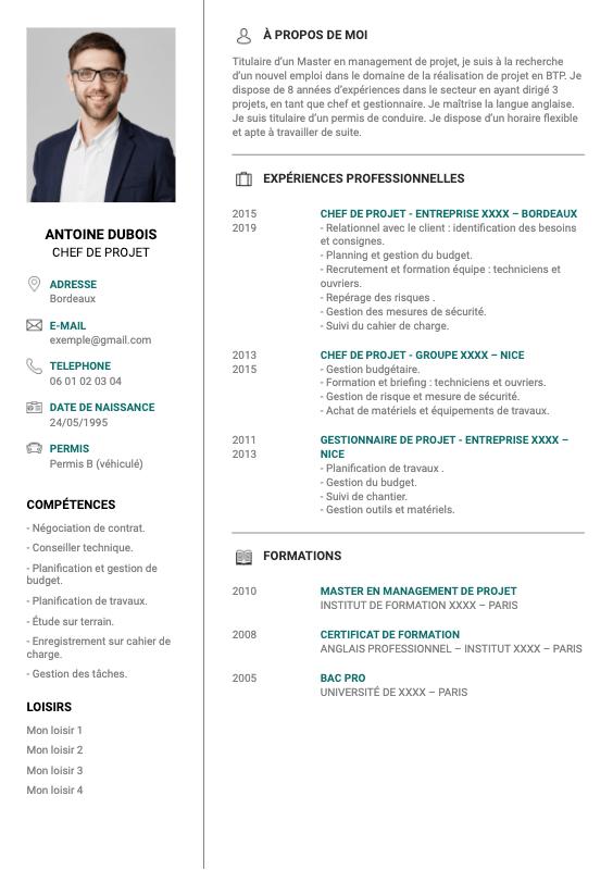 exemple CV chef de projet